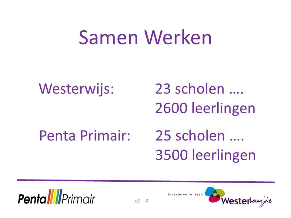 Samen Werken /// 2 Westerwijs: 23 scholen …. 2600 leerlingen Penta Primair: 25 scholen ….