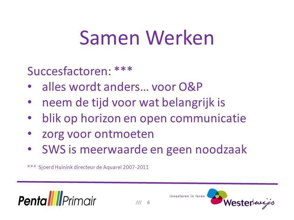 Samen Werken /// 6 Succesfactoren: *** alles wordt anders… voor O&P neem de tijd voor wat belangrijk is blik op horizon en open communicatie zorg voor ontmoeten SWS is meerwaarde en geen noodzaak *** Sjoerd Huinink directeur de Aquarel 2007-2011