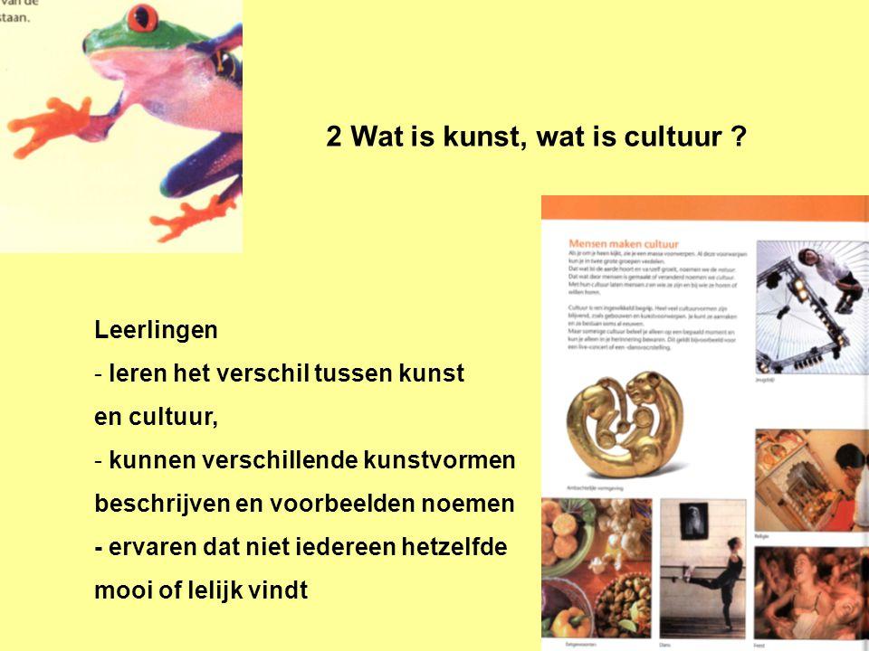2 Wat is kunst, wat is cultuur ? Leerlingen - leren het verschil tussen kunst en cultuur, - kunnen verschillende kunstvormen beschrijven en voorbeelde