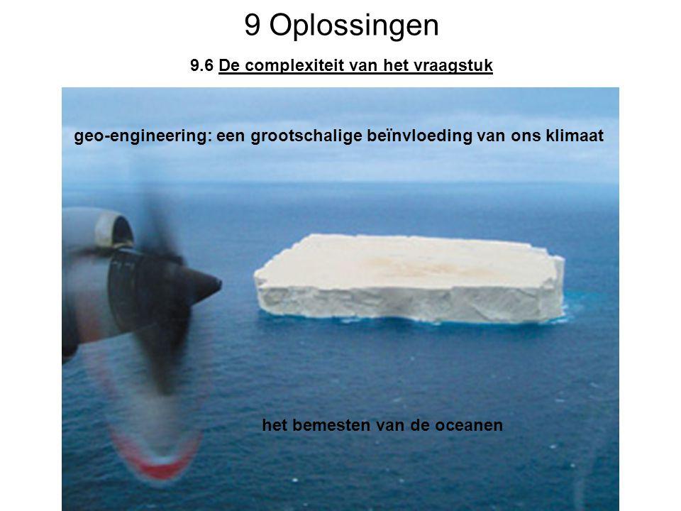 9 Oplossingen 9.6 De complexiteit van het vraagstuk geo-engineering: een grootschalige beïnvloeding van ons klimaat het bemesten van de oceanen