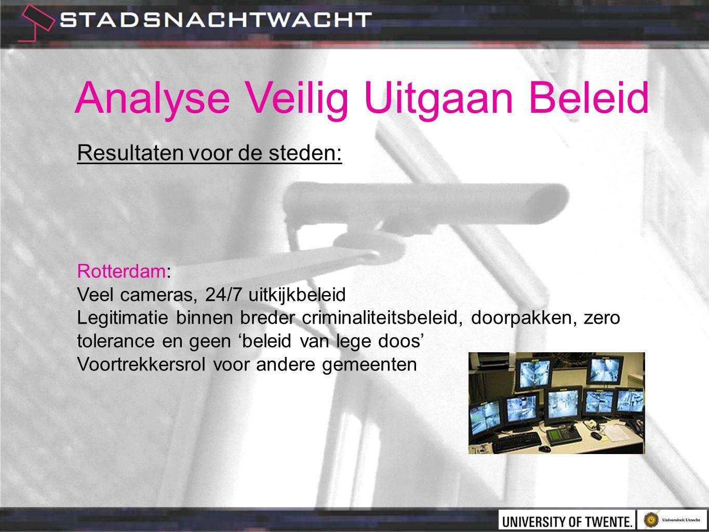 Analyse Veilig Uitgaan Beleid Resultaten voor de steden: Rotterdam: Veel cameras, 24/7 uitkijkbeleid Legitimatie binnen breder criminaliteitsbeleid, doorpakken, zero tolerance en geen 'beleid van lege doos' Voortrekkersrol voor andere gemeenten