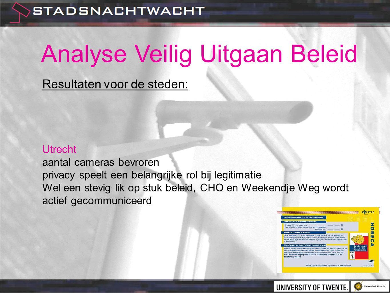 Analyse Veilig Uitgaan Beleid Resultaten voor de steden: Utrecht aantal cameras bevroren privacy speelt een belangrijke rol bij legitimatie Wel een stevig lik op stuk beleid, CHO en Weekendje Weg wordt actief gecommuniceerd