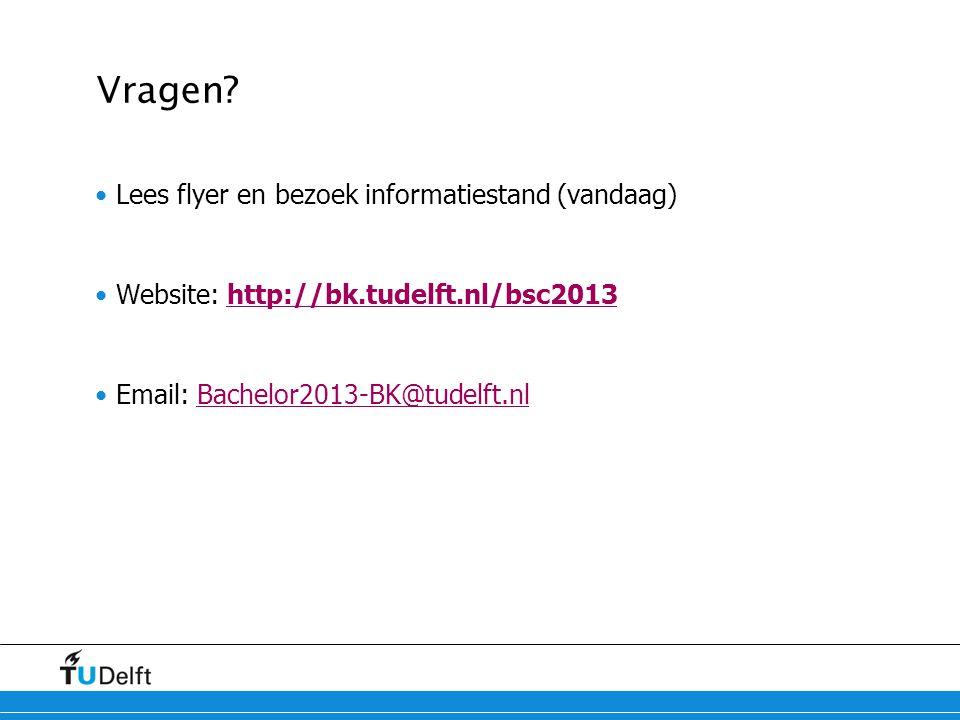 Vragen? Lees flyer en bezoek informatiestand (vandaag) Website: http://bk.tudelft.nl/bsc2013http://bk.tudelft.nl/bsc2013 Email: Bachelor2013-BK@tudelf