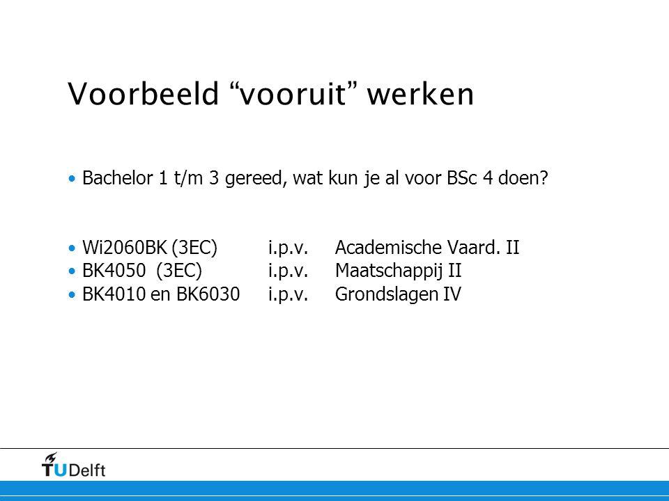 """Voorbeeld """"vooruit"""" werken Bachelor 1 t/m 3 gereed, wat kun je al voor BSc 4 doen? Wi2060BK (3EC)i.p.v.Academische Vaard. II BK4050 (3EC)i.p.v.Maatsch"""