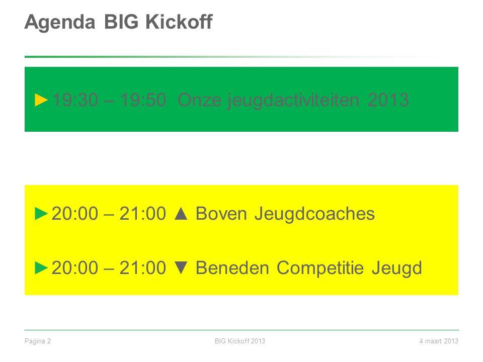 BIG Kickoff 2013Pagina 24 maart 2013 Agenda BIG Kickoff ►19:30 – 19:50 Onze jeugdactiviteiten 2013 ►20:00 – 21:00 ▲ Boven Jeugdcoaches ►20:00 – 21:00