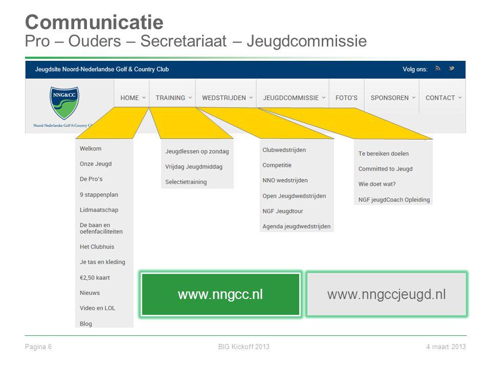 BIG Kickoff 2013Pagina 64 maart 2013 Communicatie Pro – Ouders – Secretariaat – Jeugdcommissie www.nngccjeugd.nl www.nngcc.nl