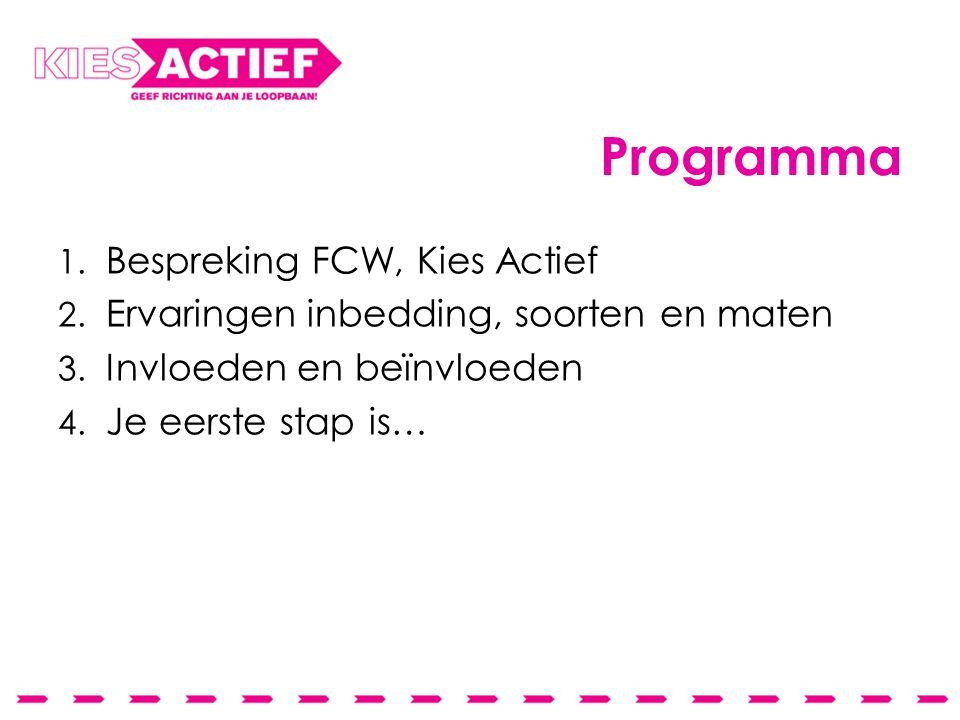 Programma 1. Bespreking FCW, Kies Actief 2. Ervaringen inbedding, soorten en maten 3. Invloeden en beïnvloeden 4. Je eerste stap is…