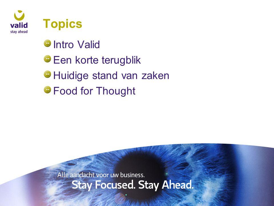 Topics Intro Valid Een korte terugblik Huidige stand van zaken Food for Thought