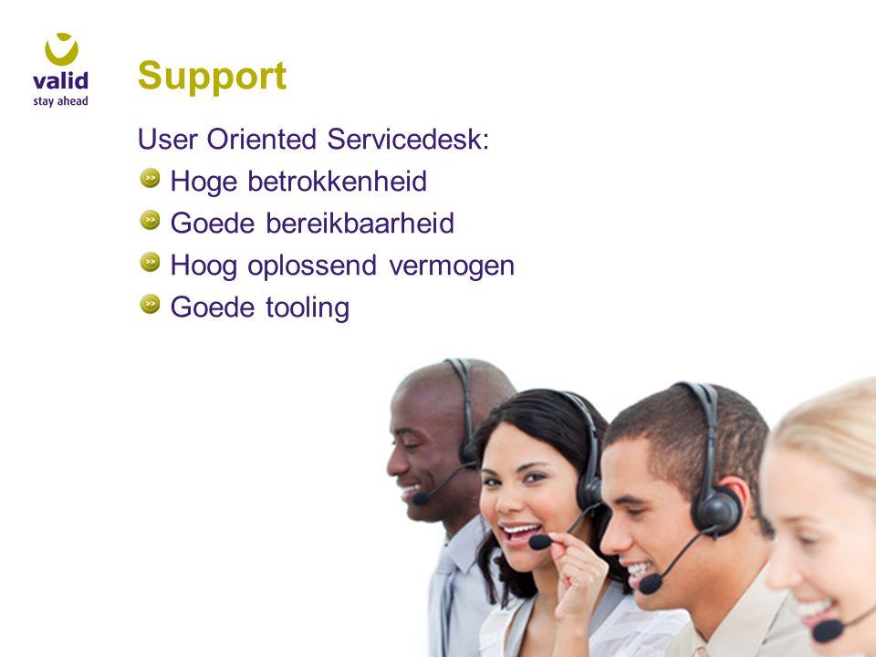 Support User Oriented Servicedesk: Hoge betrokkenheid Goede bereikbaarheid Hoog oplossend vermogen Goede tooling
