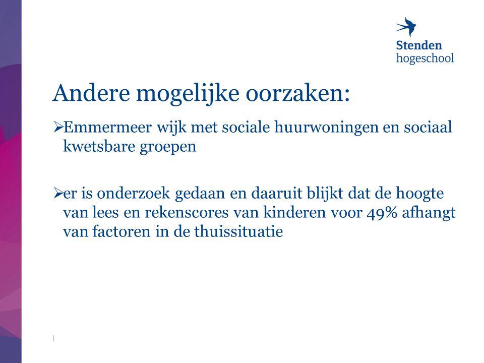 Andere mogelijke oorzaken:  Emmermeer wijk met sociale huurwoningen en sociaal kwetsbare groepen  er is onderzoek gedaan en daaruit blijkt dat de ho