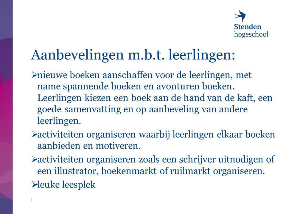 Aanbevelingen m.b.t. leerlingen:  nieuwe boeken aanschaffen voor de leerlingen, met name spannende boeken en avonturen boeken. Leerlingen kiezen een