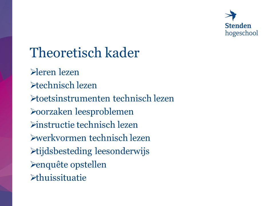 Theoretisch kader  leren lezen  technisch lezen  toetsinstrumenten technisch lezen  oorzaken leesproblemen  instructie technisch lezen  werkvorm