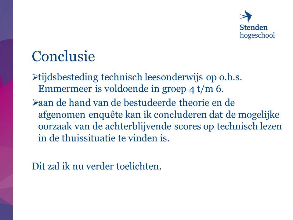 Conclusie  tijdsbesteding technisch leesonderwijs op o.b.s. Emmermeer is voldoende in groep 4 t/m 6.  aan de hand van de bestudeerde theorie en de a