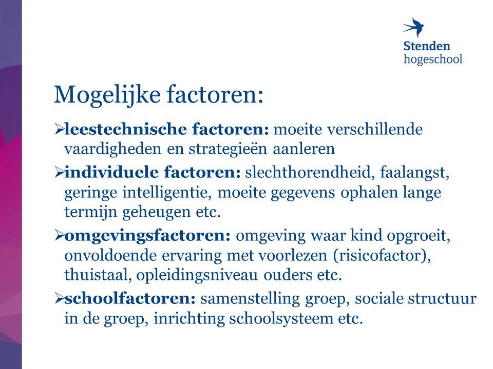 Mogelijke factoren:  leestechnische factoren: moeite verschillende vaardigheden en strategieën aanleren  individuele factoren: slechthorendheid, faa