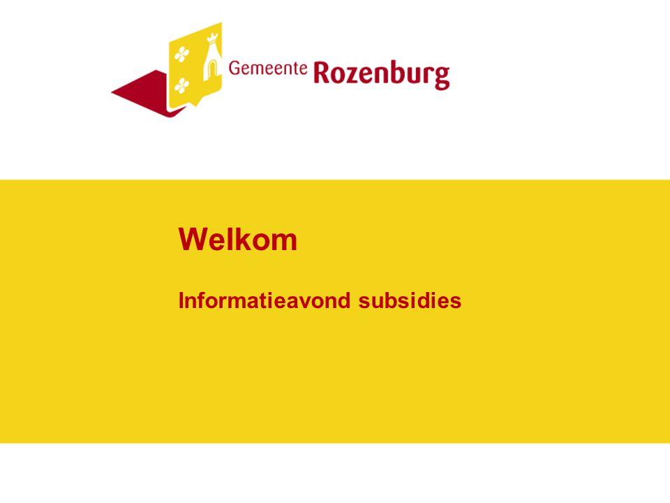 Informatieavond subsidies Voorstellen Bep de Waard (bureauhoofd samenleving) Guus Koppenol (beleidsmedewerker samenleving) Richard van Velzen (beleidsmedewerker samenleving) Marco Vonk (projectleider herindeling)