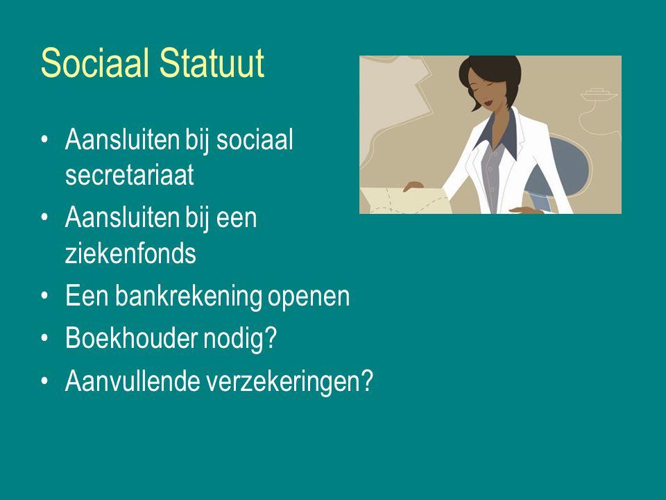 Sociaal Statuut Aansluiten bij sociaal secretariaat Aansluiten bij een ziekenfonds Een bankrekening openen Boekhouder nodig.