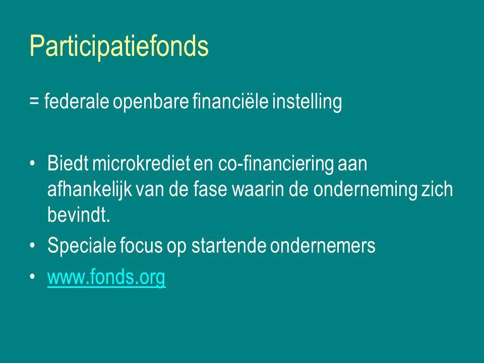 Participatiefonds = federale openbare financiële instelling Biedt microkrediet en co-financiering aan afhankelijk van de fase waarin de onderneming zich bevindt.