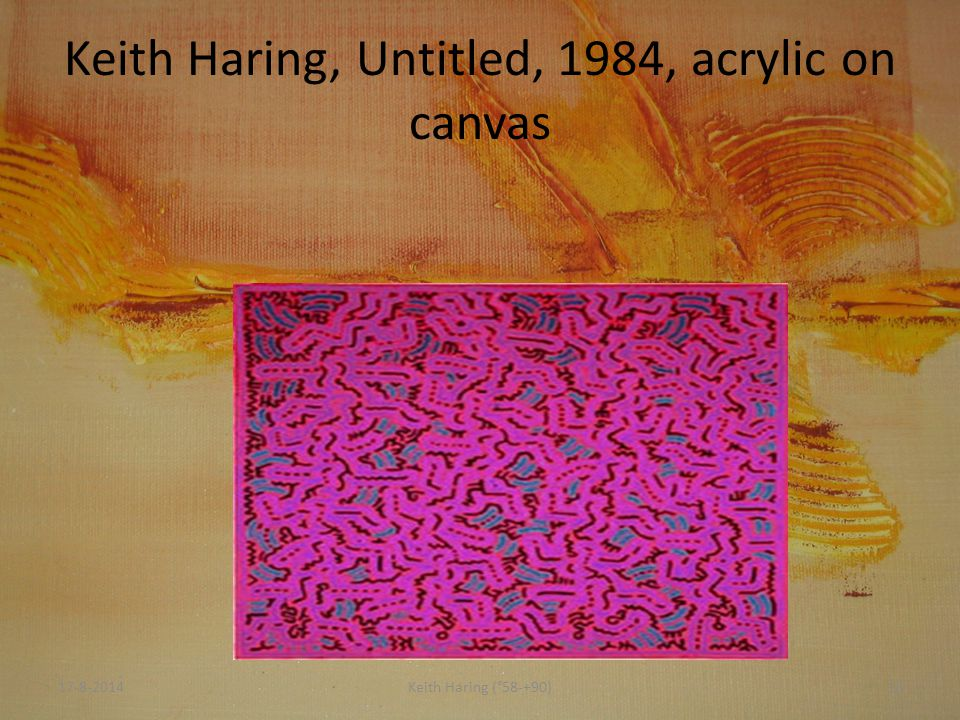 Keith Haring, Untitled, 1984, acrylic on canvas 17-8-201413Keith Haring (°58-+90)