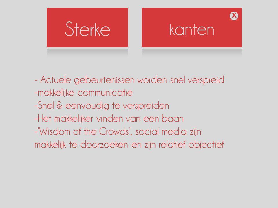 Sterke kanten X - Actuele gebeurtenissen worden snel verspreid -makkelijke communicatie -Snel & eenvoudig te verspreiden -Het makkelijker vinden van een baan -'Wisdom of the Crowds', social media zijn makkelijk te doorzoeken en zijn relatief objectief