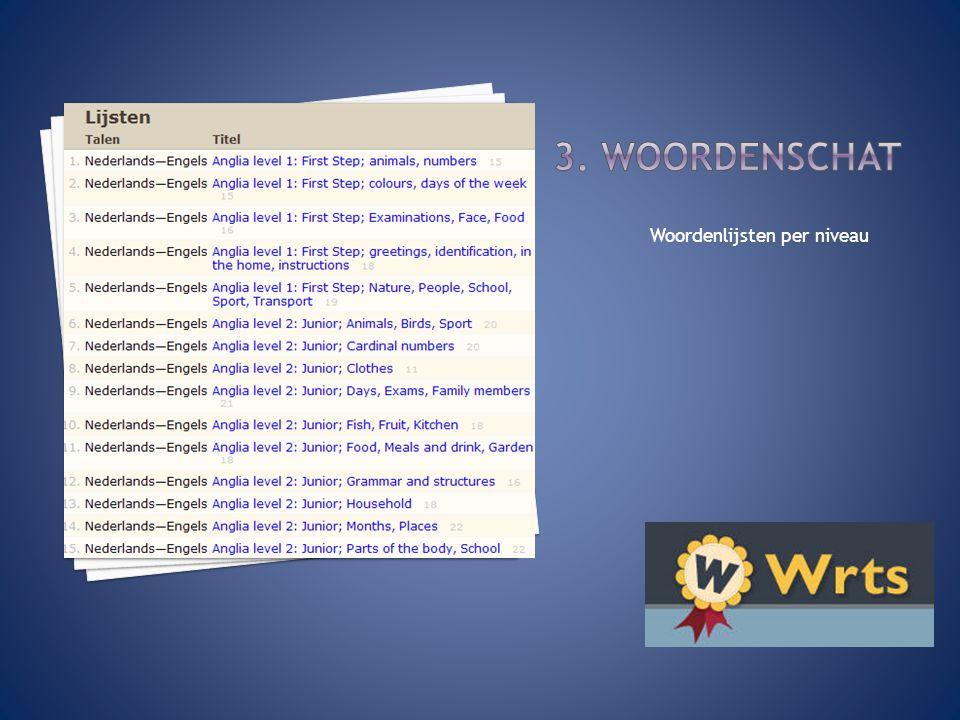 Woordenlijsten per niveau