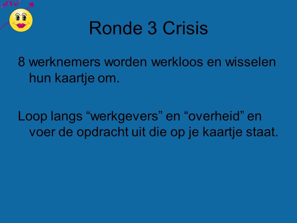 Ronde 3 Crisis 8 werknemers worden werkloos en wisselen hun kaartje om.