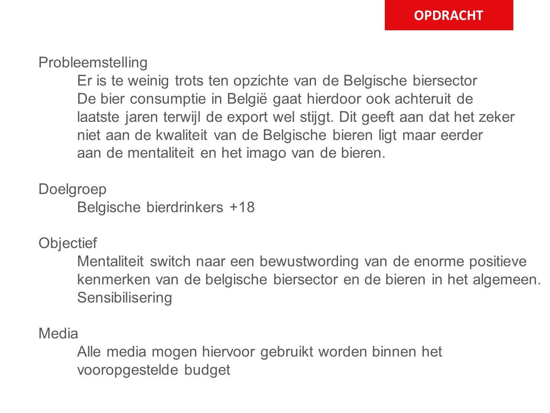 OPDRACHT Probleemstelling Er is te weinig trots ten opzichte van de Belgische biersector De bier consumptie in België gaat hierdoor ook achteruit de l