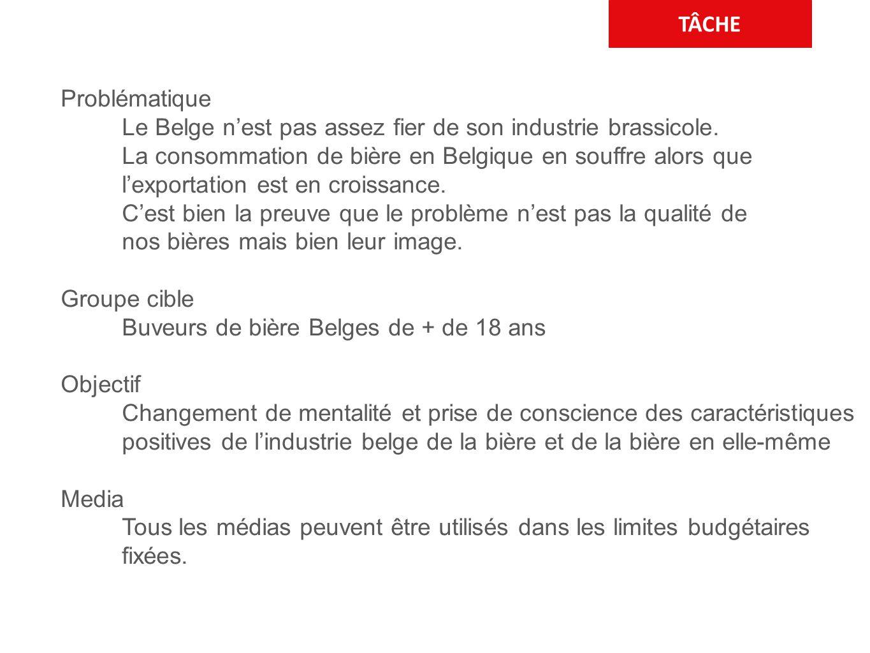 TÂCHE Problématique Le Belge n'est pas assez fier de son industrie brassicole. La consommation de bière en Belgique en souffre alors que l'exportation