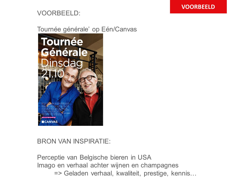 VOORBEELD VOORBEELD: Tournée générale' op Eén/Canvas BRON VAN INSPIRATIE: Perceptie van Belgische bieren in USA Imago en verhaal achter wijnen en champagnes => Geladen verhaal, kwaliteit, prestige, kennis…