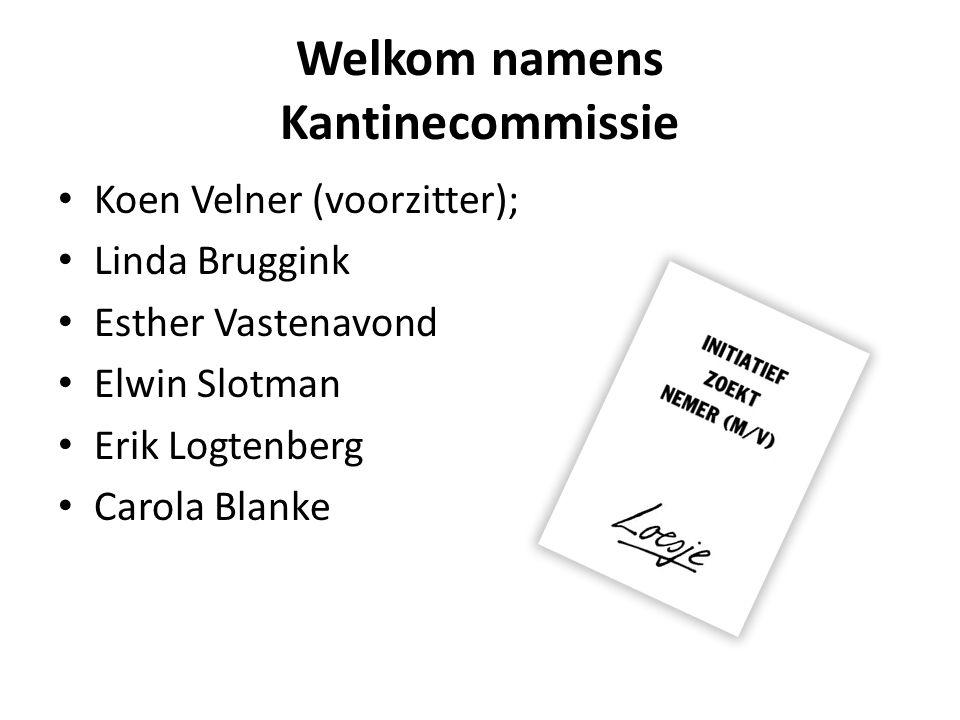 Welkom namens Kantinecommissie Koen Velner (voorzitter); Linda Bruggink Esther Vastenavond Elwin Slotman Erik Logtenberg Carola Blanke