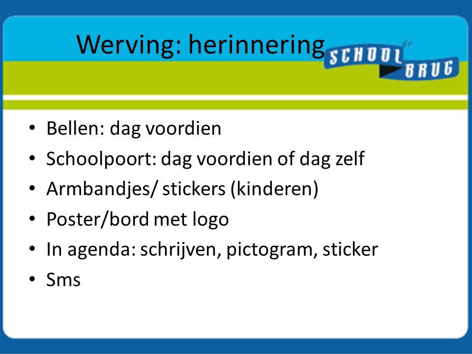 Werving: herinnering Bellen: dag voordien Schoolpoort: dag voordien of dag zelf Armbandjes/ stickers (kinderen) Poster/bord met logo In agenda: schrij