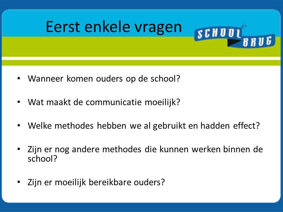 Eerst enkele vragen Wanneer komen ouders op de school? Wat maakt de communicatie moeilijk? Welke methodes hebben we al gebruikt en hadden effect? Zijn