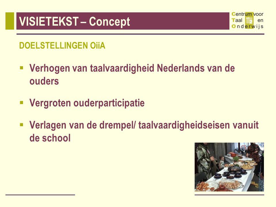 VISIETEKST – Concept DOELSTELLINGEN OiiA  Verhogen van taalvaardigheid Nederlands van de ouders  Vergroten ouderparticipatie  Verlagen van de drempel/ taalvaardigheidseisen vanuit de school