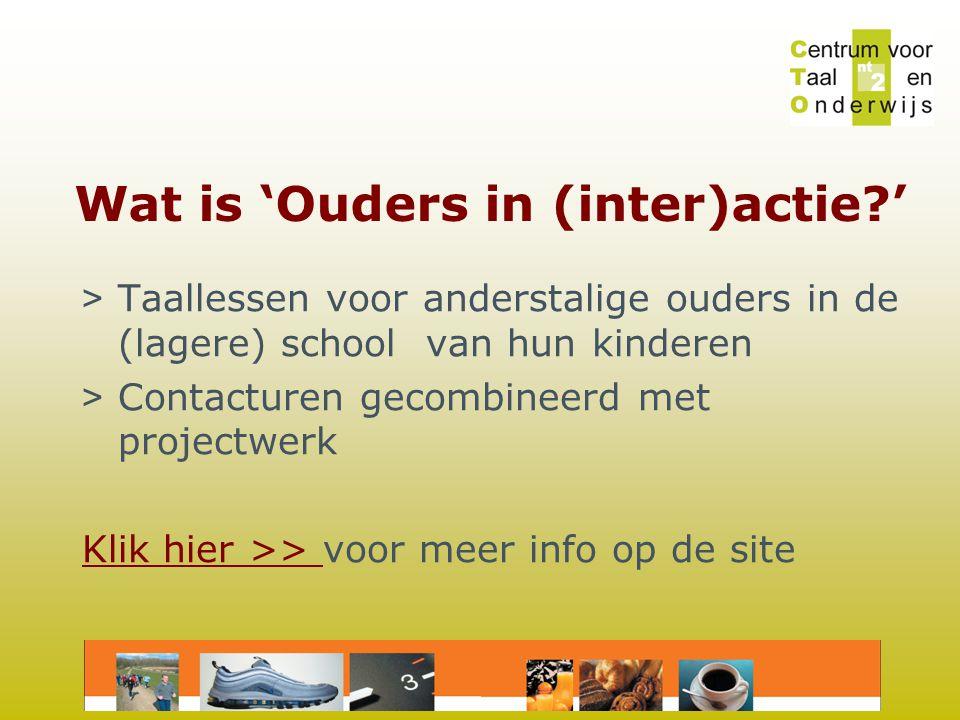 Wat is 'Ouders in (inter)actie ' > Taallessen voor anderstalige ouders in de (lagere) school van hun kinderen > Contacturen gecombineerd met projectwerk Klik hier >> Klik hier >> voor meer info op de site