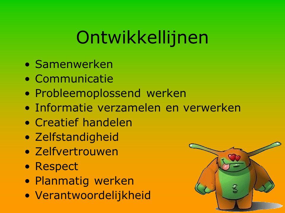 Ontwikkellijnen Samenwerken Communicatie Probleemoplossend werken Informatie verzamelen en verwerken Creatief handelen Zelfstandigheid Zelfvertrouwen Respect Planmatig werken Verantwoordelijkheid