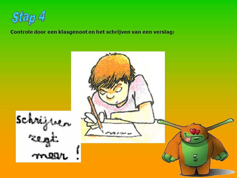 Controle door een klasgenoot en het schrijven van een verslag: