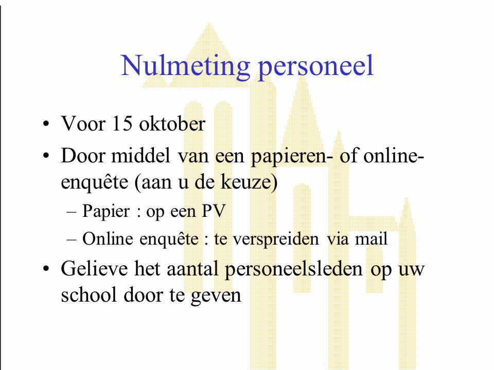 Nulmeting personeel Voor 15 oktober Door middel van een papieren- of online- enquête (aan u de keuze) –Papier : op een PV –Online enquête : te verspre