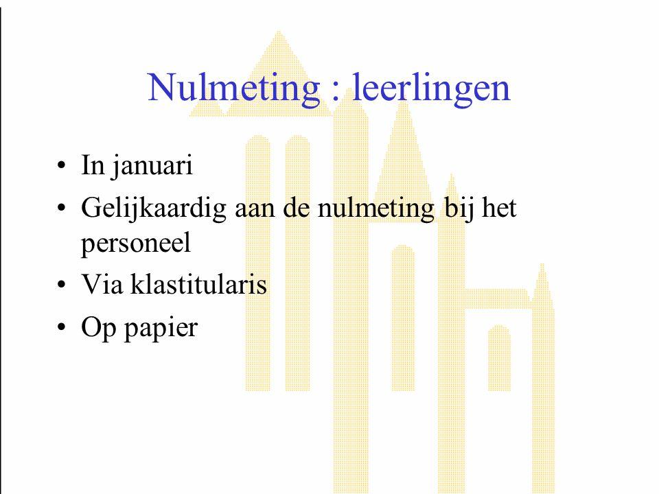 Nulmeting : leerlingen In januari Gelijkaardig aan de nulmeting bij het personeel Via klastitularis Op papier
