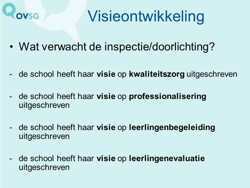 Visieontwikkeling Wat verwacht de inspectie/doorlichting? -de school heeft haar visie op kwaliteitszorg uitgeschreven -de school heeft haar visie op p