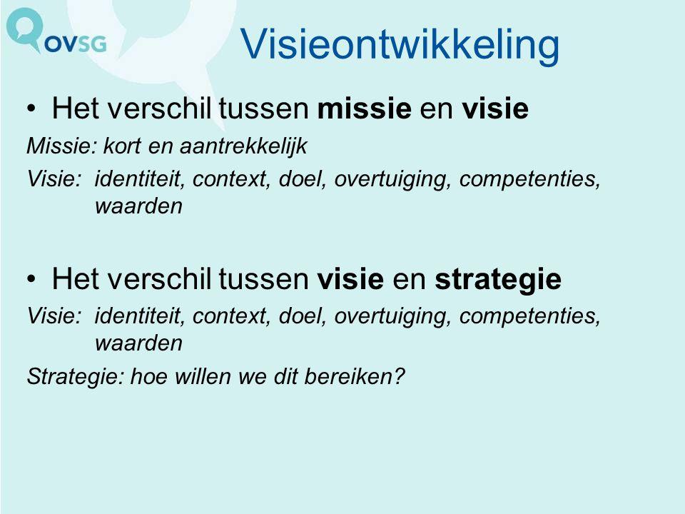 Visieontwikkeling Het verschil tussen missie en visie Missie: kort en aantrekkelijk Visie:identiteit, context, doel, overtuiging, competenties, waarde