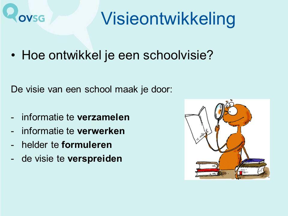 Visieontwikkeling Hoe ontwikkel je een schoolvisie? De visie van een school maak je door: -informatie te verzamelen -informatie te verwerken -helder t