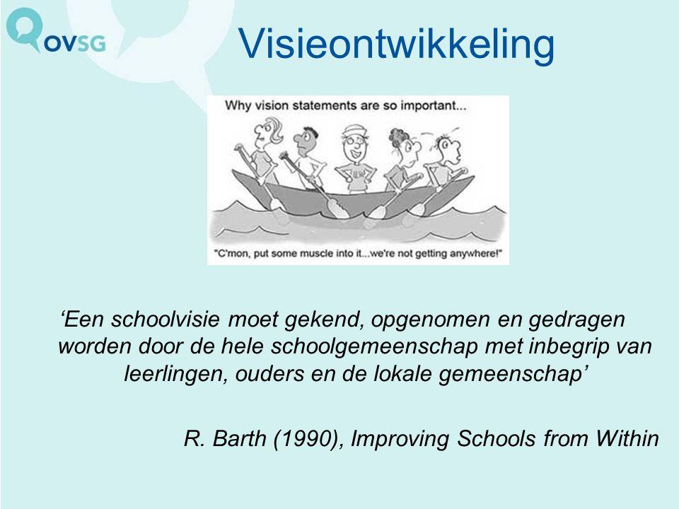 Visieontwikkeling 'Een schoolvisie moet gekend, opgenomen en gedragen worden door de hele schoolgemeenschap met inbegrip van leerlingen, ouders en de