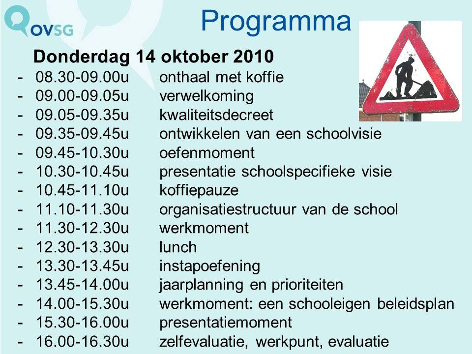 Programma Donderdag 14 oktober 2010 -08.30-09.00u onthaal met koffie -09.00-09.05u verwelkoming -09.05-09.35u kwaliteitsdecreet -09.35-09.45u ontwikke