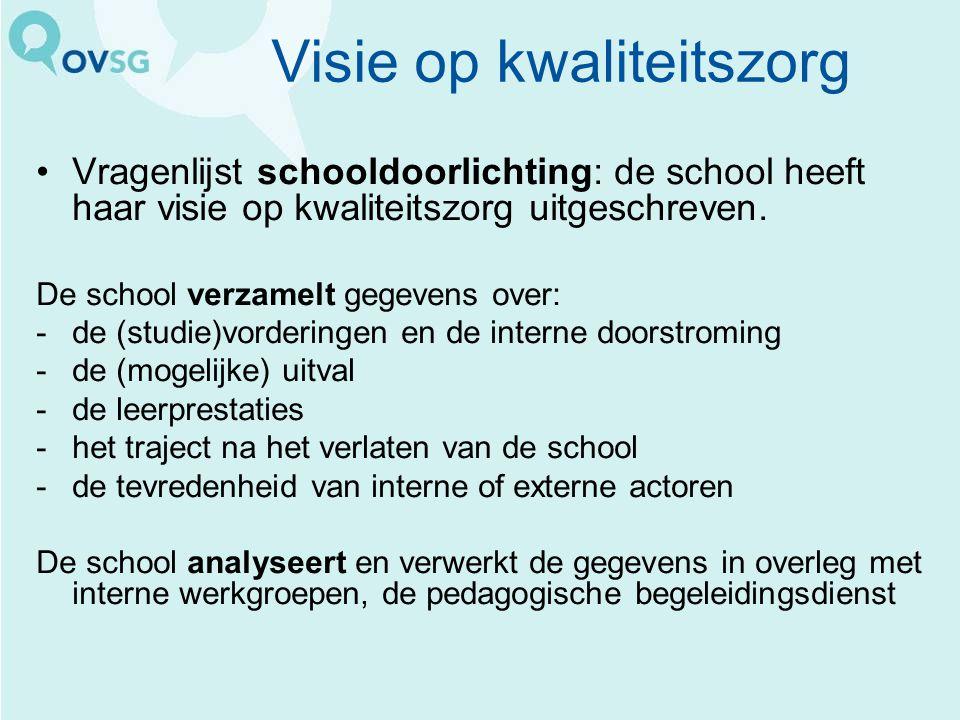 Visie op kwaliteitszorg Vragenlijst schooldoorlichting: de school heeft haar visie op kwaliteitszorg uitgeschreven. De school verzamelt gegevens over:
