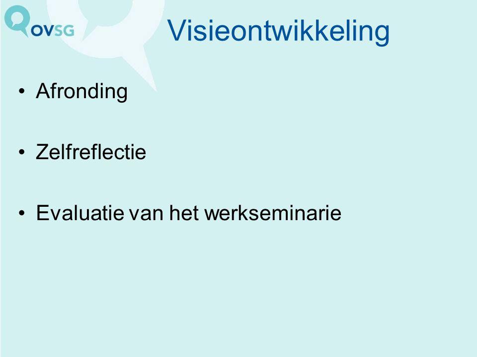 Visieontwikkeling Afronding Zelfreflectie Evaluatie van het werkseminarie