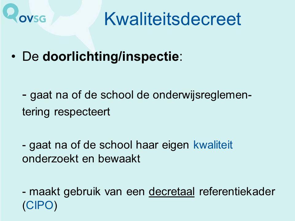 Kwaliteitsdecreet De doorlichting/inspectie: - gaat na of de school de onderwijsreglemen- tering respecteert - gaat na of de school haar eigen kwalite