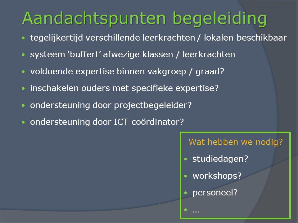 Aandachtspunten begeleiding tegelijkertijd verschillende leerkrachten / lokalen beschikbaar systeem 'buffert' afwezige klassen / leerkrachten voldoende expertise binnen vakgroep / graad.