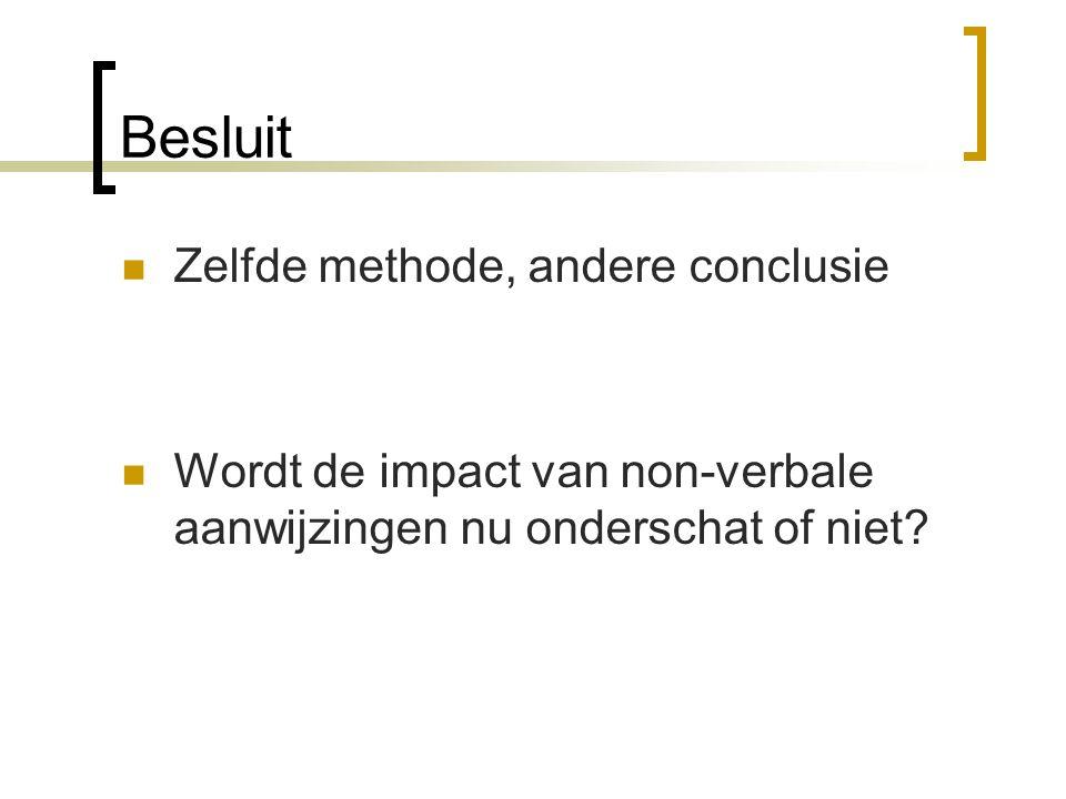 Besluit Zelfde methode, andere conclusie Wordt de impact van non-verbale aanwijzingen nu onderschat of niet?