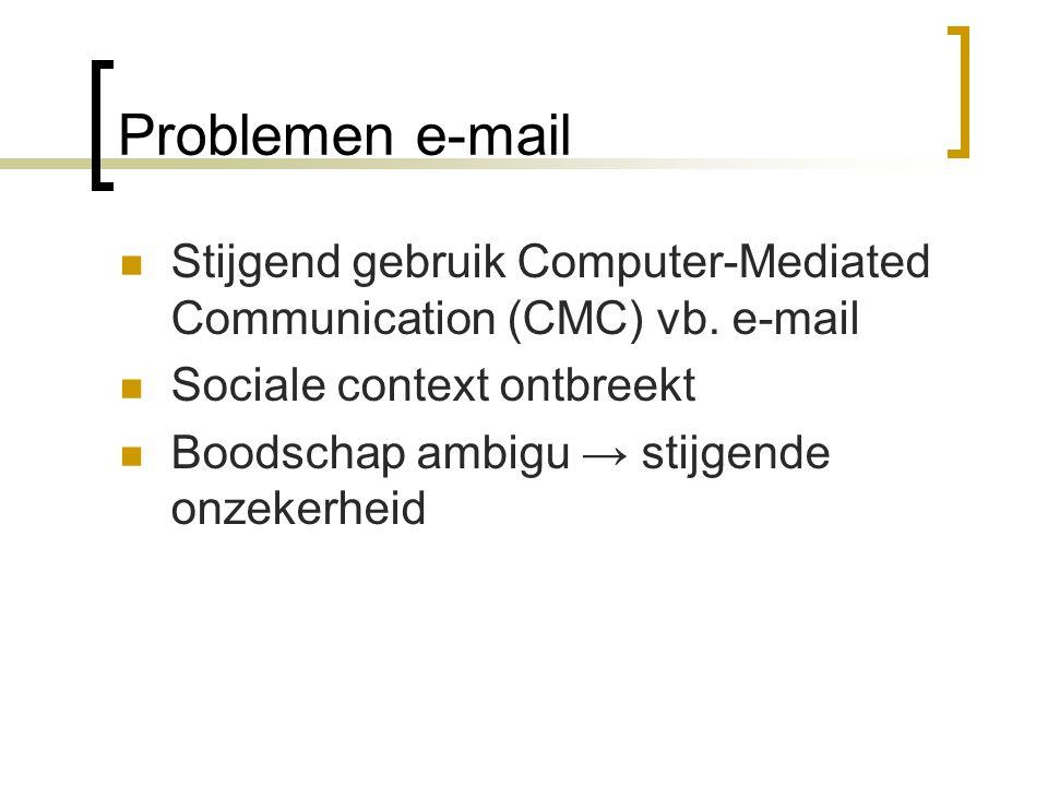 Problemen e-mail Stijgend gebruik Computer-Mediated Communication (CMC) vb. e-mail Sociale context ontbreekt Boodschap ambigu → stijgende onzekerheid
