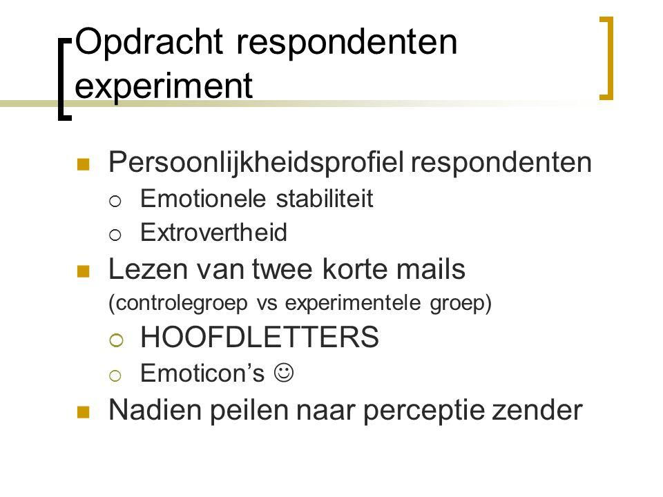 Resultaten experiment Gebruik hoofdletters: beïnvloedt waarneming Gebruik smiley's: positief effect op waarneming Emotionele stabiliteit & extrovertheid: gemengd effect op waarneming