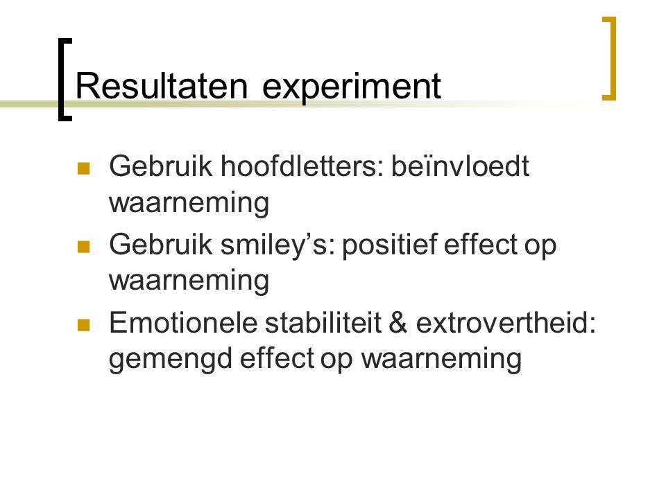 Resultaten experiment Gebruik hoofdletters: beïnvloedt waarneming Gebruik smiley's: positief effect op waarneming Emotionele stabiliteit & extroverthe